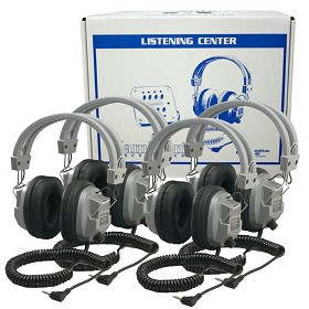 Hamilton Electronics LCB/4/SC7V Lab Pack 4 SC-7V Deluxe Headphones in a Laminated Cardboard Carry Case