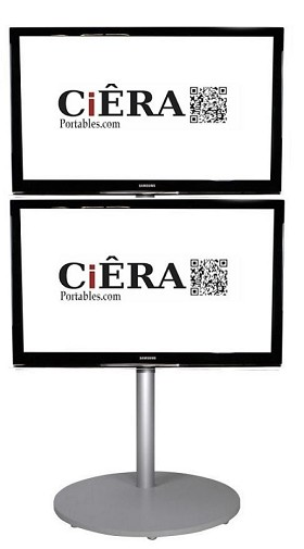CiERA EZ StandTall ONE Duo Portable TV Stand 70 Inch Tall for two 28-50 Inch TV's - Silver
