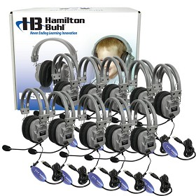 Hamilton Electronics Lab Pack, 10 HA5USBSM Headphones in a Carry Case