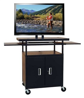 Buhl PLCAB5434E Flat Panel TV Cart with Locking Cabinet Height Adjustable 34 inch to 54 inch