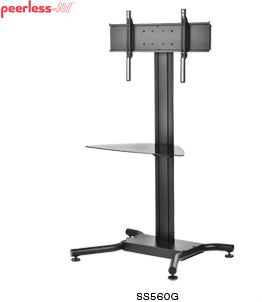 Peerless SS560G SmartMount Flat Panel TV Cart with Universal Interface and Glass Shelf for 32-65 Inch Monitors - Black