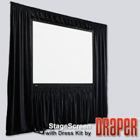 StageScreen Dress Kit Skirt - 20oz. Velour, 94 1/2 Inch Diagonal x 168 Inch Diagonal, HDTV, Black velour