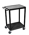 Luxor STC22-B Flat Shelf Cart - Two Shelves- Black