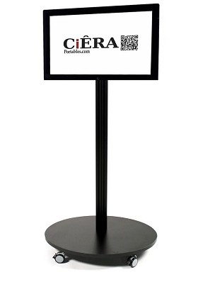 CiERA EZ StandTall Mobile 200 Portable TV Stand 60 Inch Tall for 24-40 Inch TV's - Black
