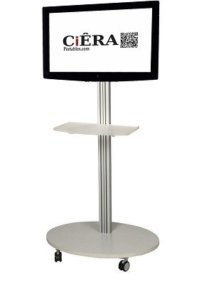 CiERA EZ StandTall Mobile Portable TV Stand 60 Inch Tall for 32-60 Inch TV's - Silver