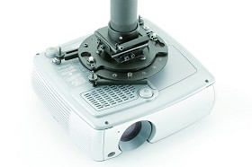 DaLite CPM-V6 Universal Projector Mount with Vibration Isolation Plate Escutcheon Ring Black and 6 Inch Extension Rod - White