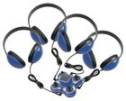 Califone 1114BL-4 Mini Stereo Jack Box Plus 4 2800-BL Headphones