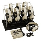 Califone 1218AVP-03 Monaural w/ 6 2924AVP Headphones w/ 1218AVPY Jackbox & rack