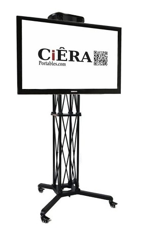 CiERA EZ Fold Mobile Portable TV Stand with Padded Carrying Case's for 32-70 Inch TV's - Black