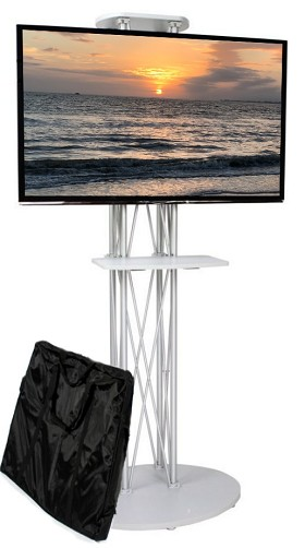 CiERA EZ Fold All-In-One Tradeshow Portable TV Stand with Shelf for 28-70 Inch TV's - Silver