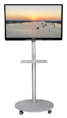 CiERA EZ StandTall Mobile ONE Tradeshow Portable TV Stand 60 Inch Tall for 28-60 Inch TV's - Silver