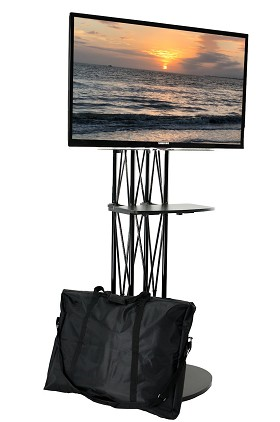 CiERA EZ Fold All-In-One Folding Truss Portable TV Stand with Shelf for 28-70 Inch TV's - Black