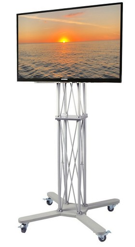 CiERA EZ Fold Mobile Tradeshow Portable TV Stand 85 Inch Tall for 32-70 Inch TV's - Silver