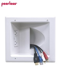 Peerless IBA5-W Recessed Low Voltage Media Plate with Duplex Surge Suppressor - White