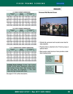 Da-Lite 86906 Imager Da-Tex Rear Projection Surface HDTV Format 133 Inch Diagonal 65x116