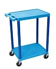 Luxor BUSTC22BU Flat Shelf Cart - Two Shelves- Blue