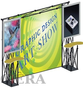 CiERA EZ Fold Portable Tradeshow Display with TV Mounts - Black