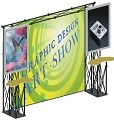 CiERA EZ Fold Tradeshow Portable Tradeshow Display with TV Mounts - Black