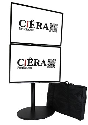 CiERA EZ StandTall ONE Duo Portable TV Stand with Padded Carrying Case Supports two 28-50 Inch TV's - Black